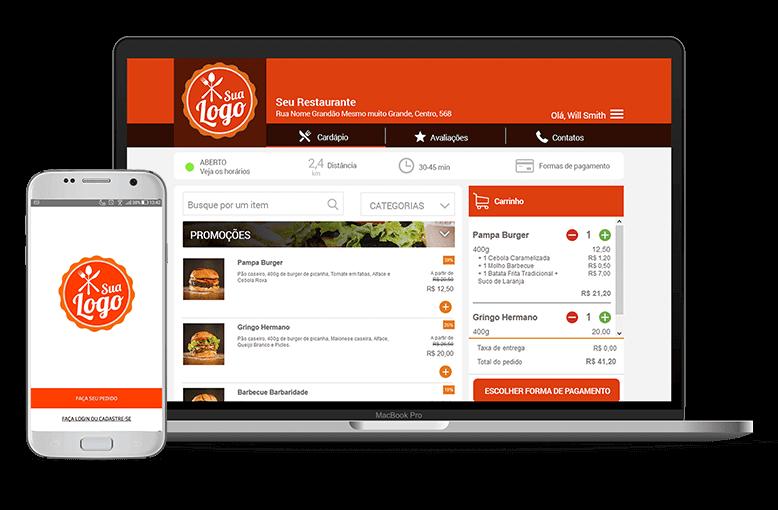 Site e App com a identidade do seu negócio e com integração ao Facebook.